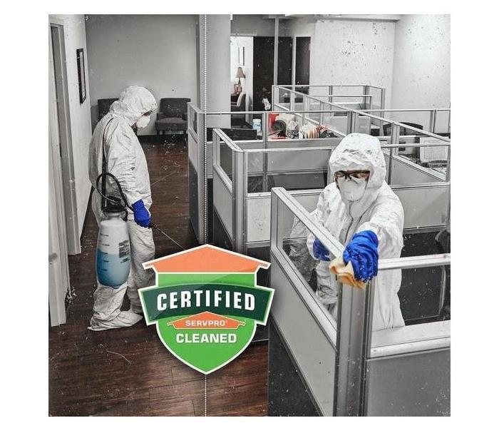 Certified: SERVPRO Cleaned office with employees in PPE
