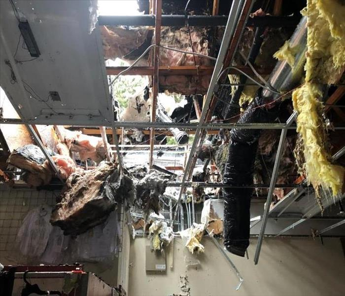 collapsed ceiling, insulation, framing